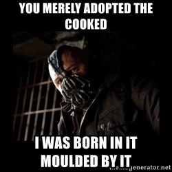 Bane Meme - You merely adopted the cooked i was born in it                  moulded by it