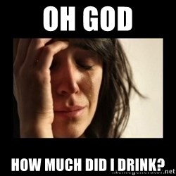 todays problem crying woman - oh god how much did i drink?