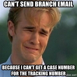 Crying Dawson - Can't send branch email because i can't get a case number for the tracking number