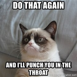 Grumpy cat good - do that again and i'll punch you in the throat
