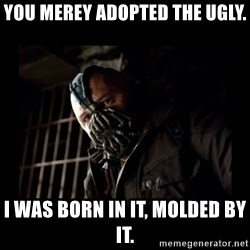 Bane Meme - You merey adopted the ugly. I was born in it, molded by it.