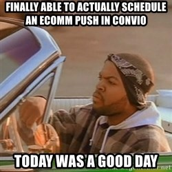 Good Day Ice Cube - finally able to actually schedule an ecomm push in convio today was a good day