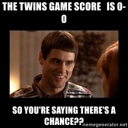 Lloyd-So you're saying there's a chance! - The Twins game score   is 0-0 So you're saying there's a chance??