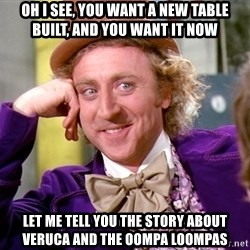 Willy Wonka - Oh I see, you want a new table built, and you want it now Let me tell you the story about Veruca and the Oompa Loompas