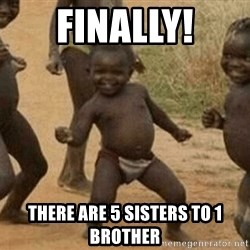 Success African Kid - Finally! There are 5 sisters to 1 brother
