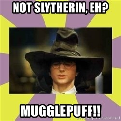 Harry Potter Sorting Hat - Not Slytherin, eh? MUGGLEPUFF!!