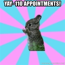 yAy FoR LifE BunNy - Yay- 110 appointments!