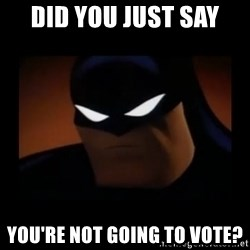 Disapproving Batman - Did you just say you're not going to vote?