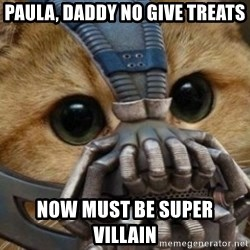 bane cat - Paula, Daddy no give treats Now must be Super Villain