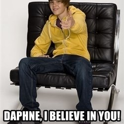 Justin Bieber Pointing -  Daphne, I believe in you!