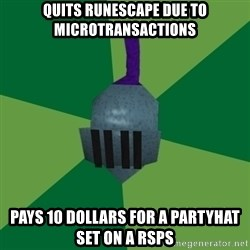 Runescape Advice - Quits RuneScape due to Microtransactions Pays 10 dollars for a partyhat set on a RSPS