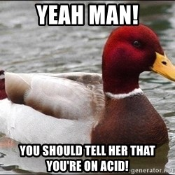 Malicious advice mallard - Yeah man! You should tell her that you're ON acid!
