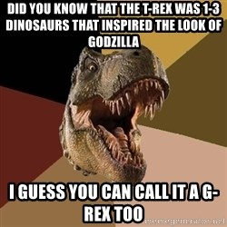 Raging T-rex - Did you know that the T-Rex was 1-3 dinosaurs that inspired the look of Godzilla  I guess you can call it a G-Rex too