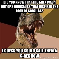 Raging T-rex - Did you know that the T-Rex was 1 out of 3 dinosaurs that inspired the look of Godzilla?  I guess you could call them a G-Rex now