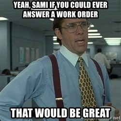 Yeah that'd be great... - Yeah, SAMi if you could ever answer a work order That would be great