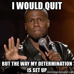 Kevin Hart - I would quit  But the way my determination is set up