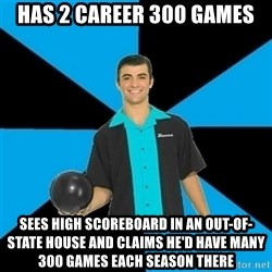 Annoying Bowler Guy  - Has 2 career 300 games Sees high scoreboard in an out-of-state house and claims he'd have many 300 games each season there
