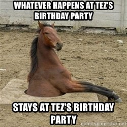 Hole Horse - whatever happens at Tez's birthday party stays at Tez's birthday party