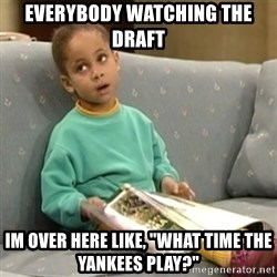 """Olivia Cosby Show - Everybody watching the draft  Im over here like, """"what time the Yankees play?"""""""