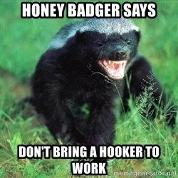 Honey Badger Actual - honey badger says don't bring a hooker to work