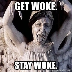 Weeping angel meme - Get woke. Stay woke.
