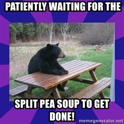 waiting bear -  patiently waiting for the split pea soup to get done!
