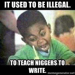 Black kid coloring - it used to be illegal. to teach niggers to write.