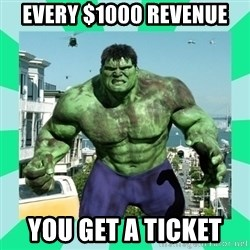 THe Incredible hulk - Every $1000 Revenue You get a ticket