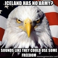 Freedom Eagle  - Iceland has no army? Sounds like they could use some freedom