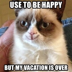 Happy Grumpy Cat 2 - use to be happy but my vacation is over