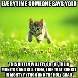 God Kills A Kitten - Everytime someone says YOLO This kitten will fly out of their monitor and kill them, like that rabbit in Monty Python and the Holy Grail