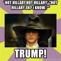 "Harry Potter Sorting Hat - *not hillary.not hillary* ""not hillary eh? i know..""""  TRUMP!"
