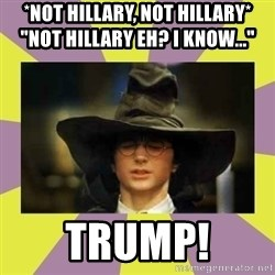 "Harry Potter Sorting Hat - *not hillary, not hillary*                ""not hillary eh? I know..."" Trump!"