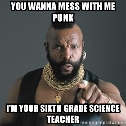 Mr T Fool - you wanna mess with me Punk I'm your sixth grade science teacher