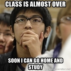 Asian College Freshman - Class is almost over Soon I can go home and study