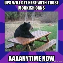 waiting bear - UPS will get here with those Monkish Cans Aaaanytime now