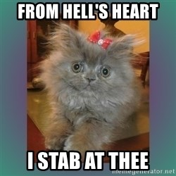 cute cat - From Hell's Heart  I stab at thee
