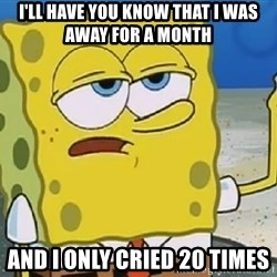Only Cried for 20 minutes Spongebob - i'll have you know that i was away for a month and i only cried 20 times