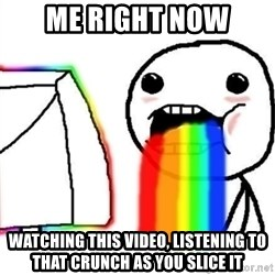 Puking Rainbows - Me right now watching this video, listening to that crunch as you slice it