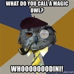Art Professor Owl - What do You Call a Magic Owl? WHOOOOOOODINI!