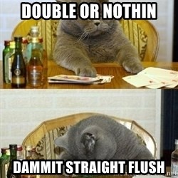 Poker Cat - Double or nothin Dammit Straight flush
