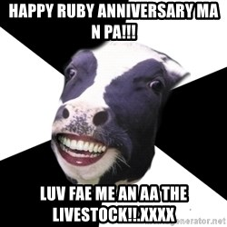 Restaurant Employee Cow - happy ruby anniversary ma n pa!!! Luv fae me an aa the livestock!!.xxxx