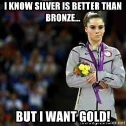 unimpressed McKayla Maroney 2 - I know Silver is better than Bronze... But I want Gold!