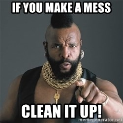 Mr T Fool - If you make a mess CLEAN IT UP!