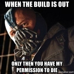 Only then you have my permission to die - When the build is out Only then you have my permission to die