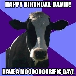 Coworker Cow - Happy Birthday, David! Have a Mooooooorific Day!