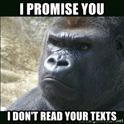 Rustled Jimmies - I promise you I don't read your texts