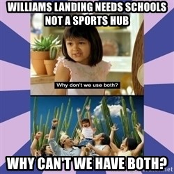 Why don't we use both girl - Williams Landing needs schools not a sports hub Why can't we have both?