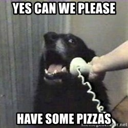 hello? yes this is dog - Yes can we please  have some pizzas