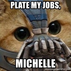 bane cat - Plate my jobs, Michelle